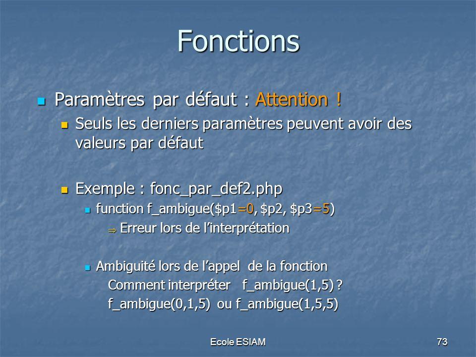 Fonctions Paramètres par défaut : Attention !