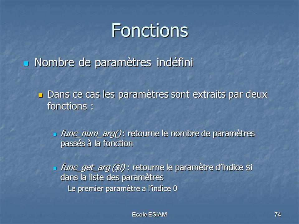 Fonctions Nombre de paramètres indéfini