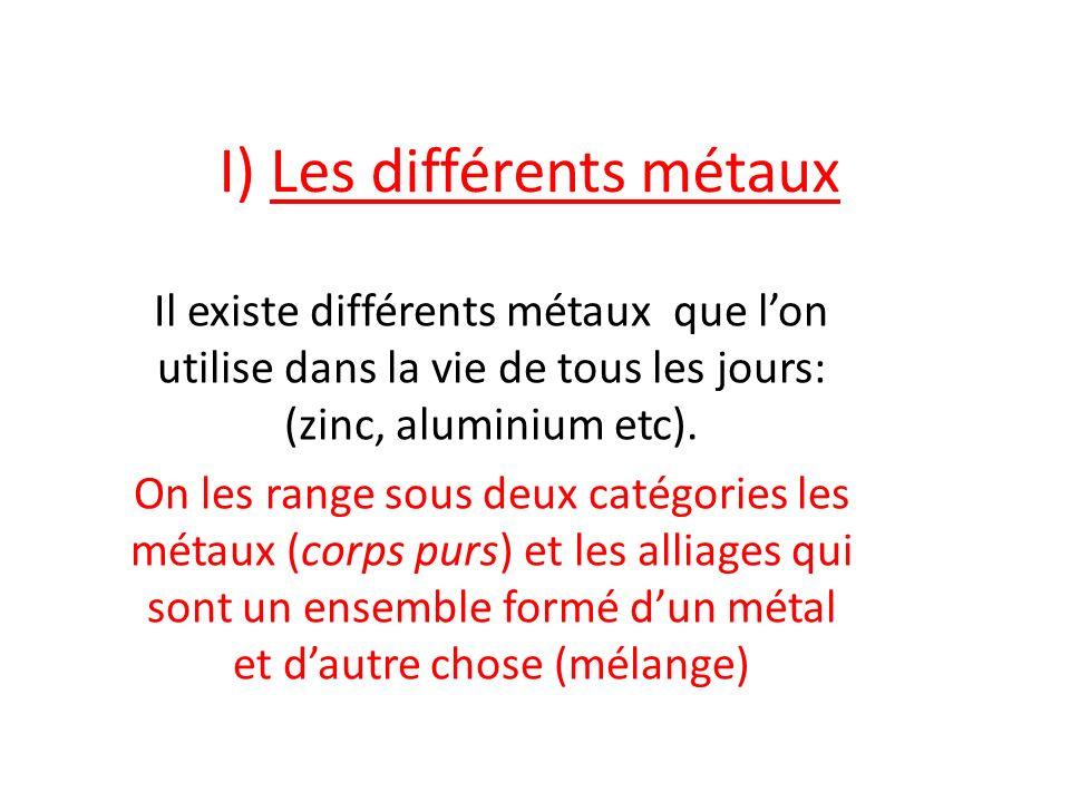 I) Les différents métaux