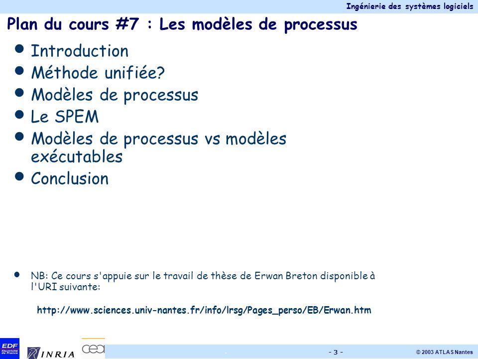 Plan du cours #7 : Les modèles de processus