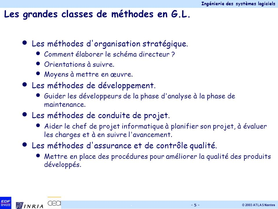 Les grandes classes de méthodes en G.L.