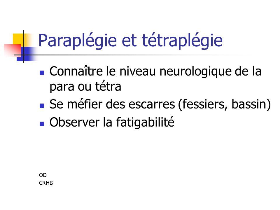 Paraplégie et tétraplégie