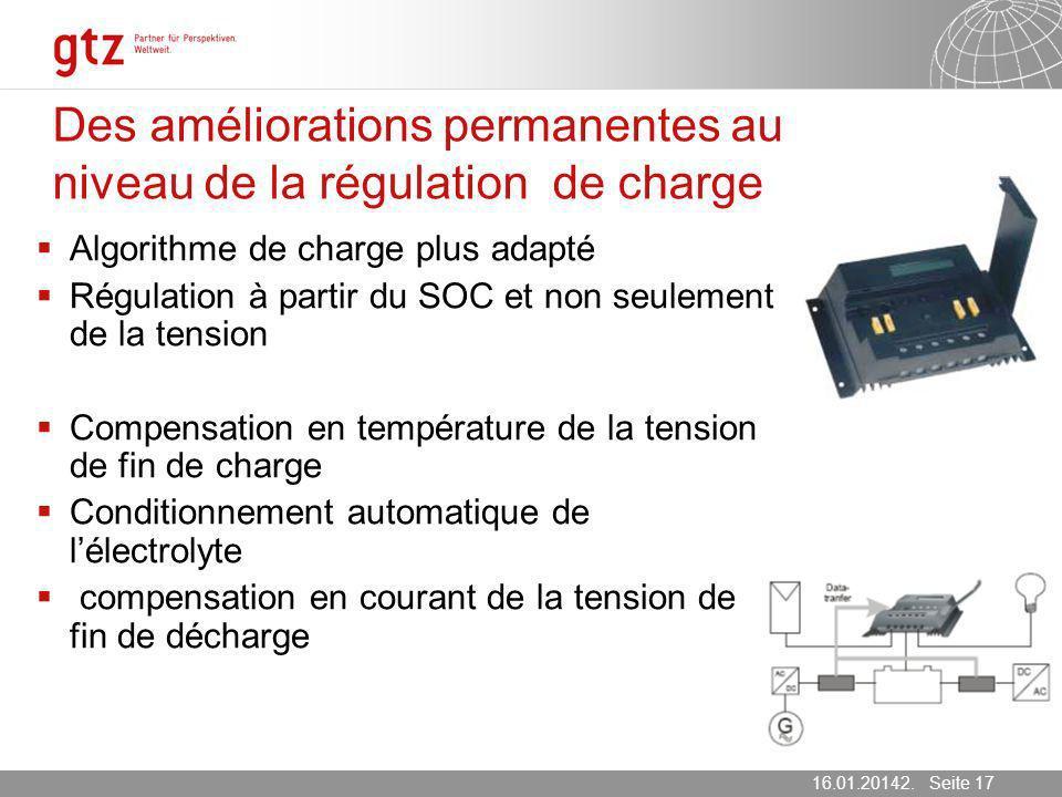 Des améliorations permanentes au niveau de la régulation de charge