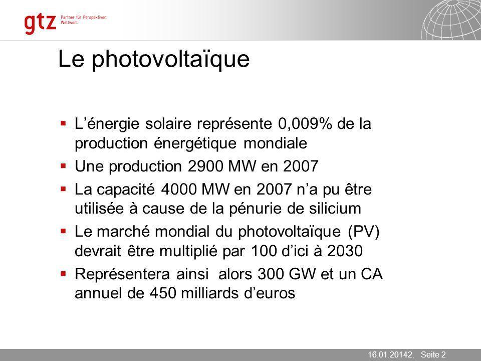 Le photovoltaïqueL'énergie solaire représente 0,009% de la production énergétique mondiale. Une production 2900 MW en 2007.