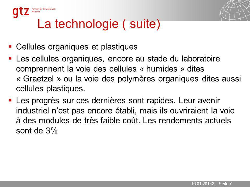 La technologie ( suite)