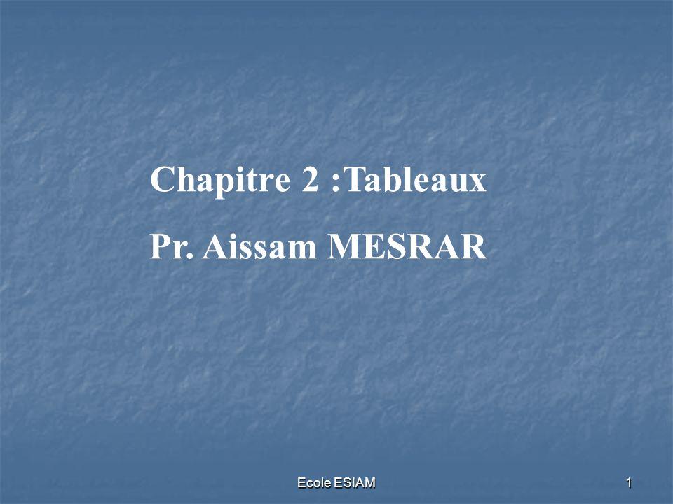Chapitre 2 :Tableaux Pr. Aissam MESRAR Ecole ESIAM