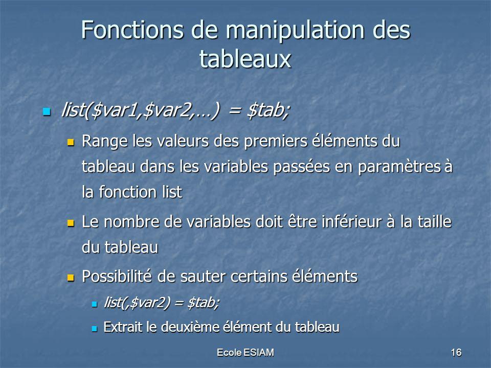 Fonctions de manipulation des tableaux