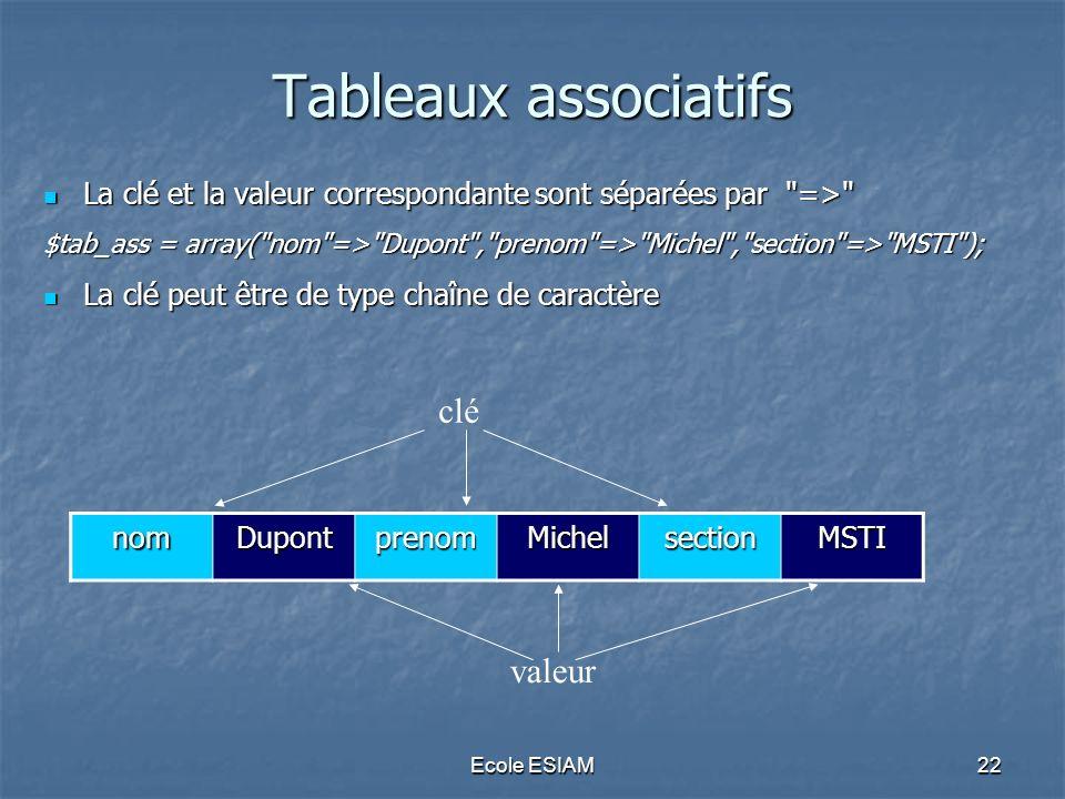 Tableaux associatifs clé valeur