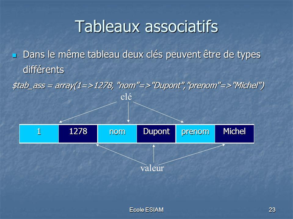 Tableaux associatifs Dans le même tableau deux clés peuvent être de types différents. $tab_ass = array(1=>1278, nom => Dupont , prenom => Michel )