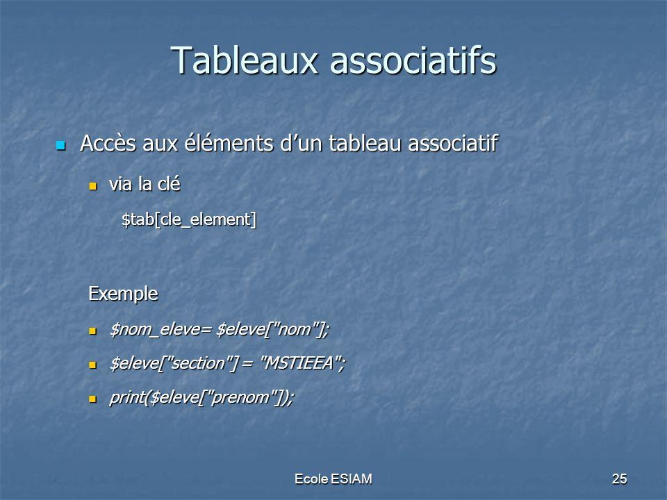 Tableaux associatifs Accès aux éléments d'un tableau associatif