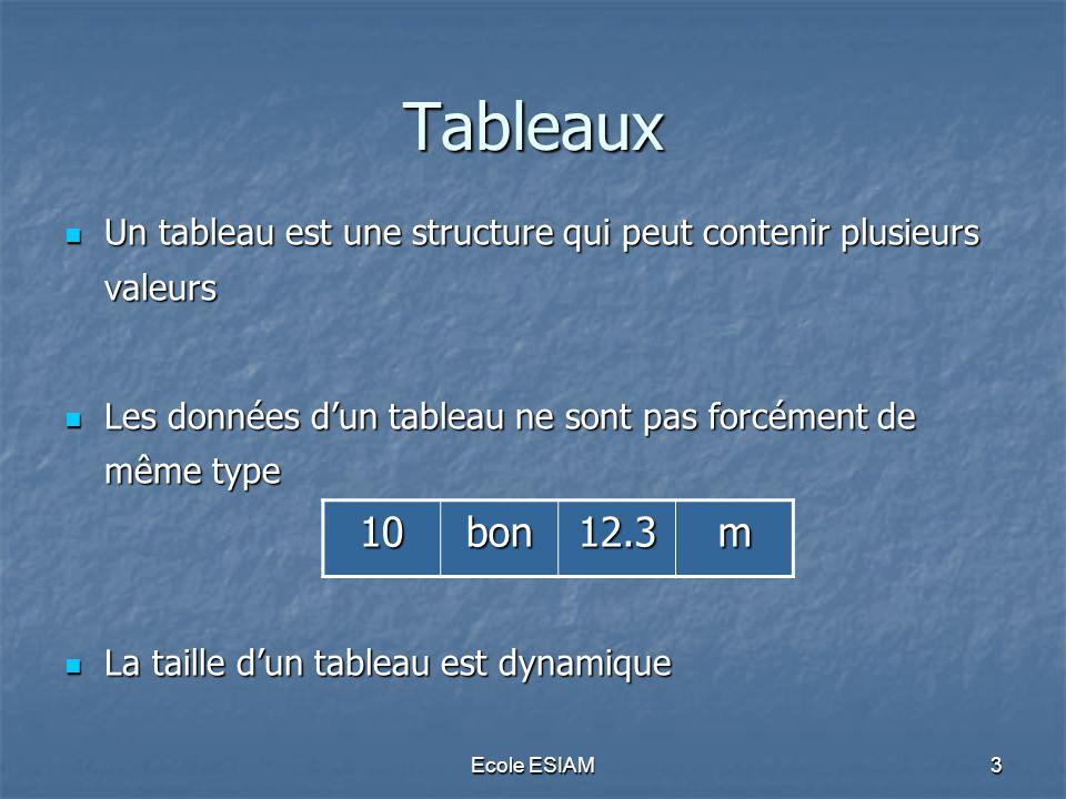 Tableaux Un tableau est une structure qui peut contenir plusieurs valeurs. Les données d'un tableau ne sont pas forcément de même type.