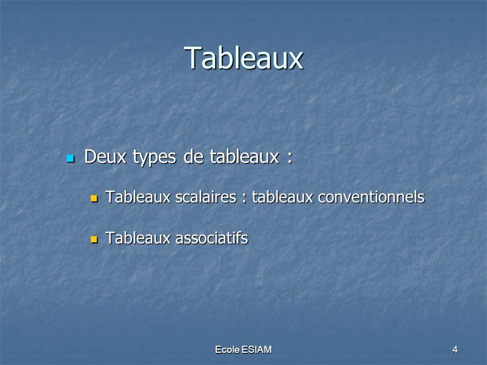 Tableaux Deux types de tableaux :