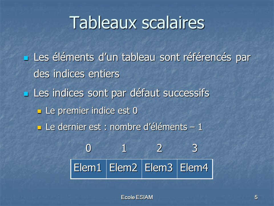 Tableaux scalaires Les éléments d'un tableau sont référencés par des indices entiers. Les indices sont par défaut successifs.