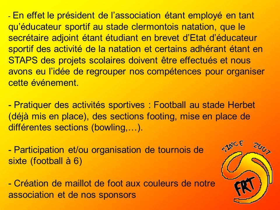 - Participation et/ou organisation de tournois de sixte (football à 6)