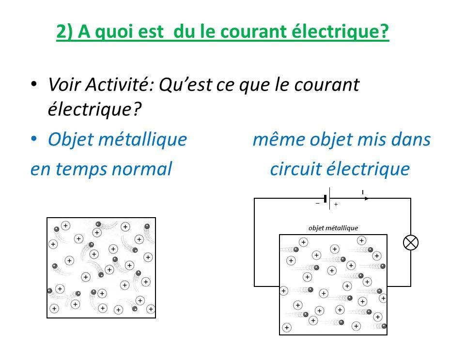 2) A quoi est du le courant électrique