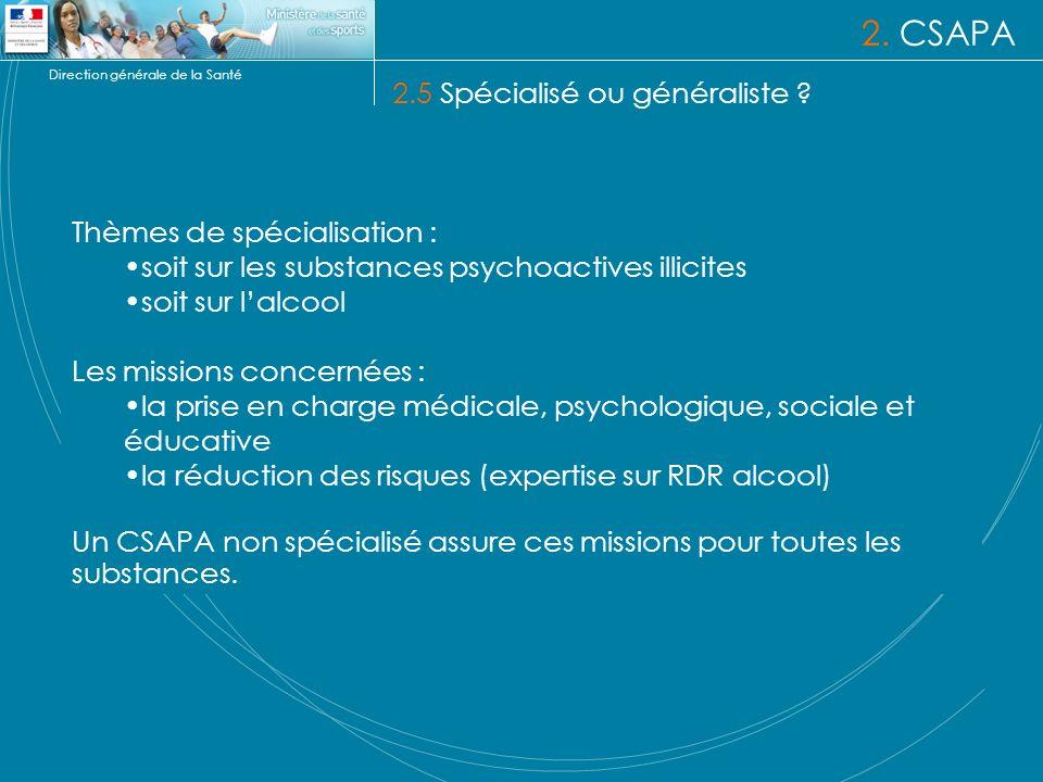 2. CSAPA 2.5 Spécialisé ou généraliste Thèmes de spécialisation :