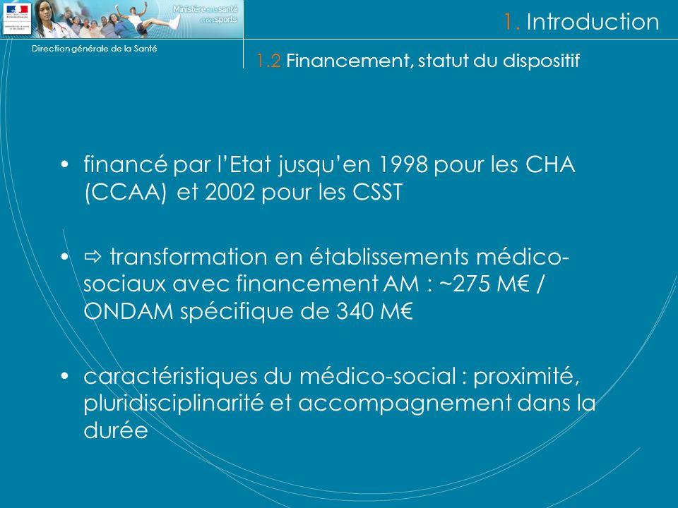1. Introduction 1.2 Financement, statut du dispositif. financé par l'Etat jusqu'en 1998 pour les CHA (CCAA) et 2002 pour les CSST.