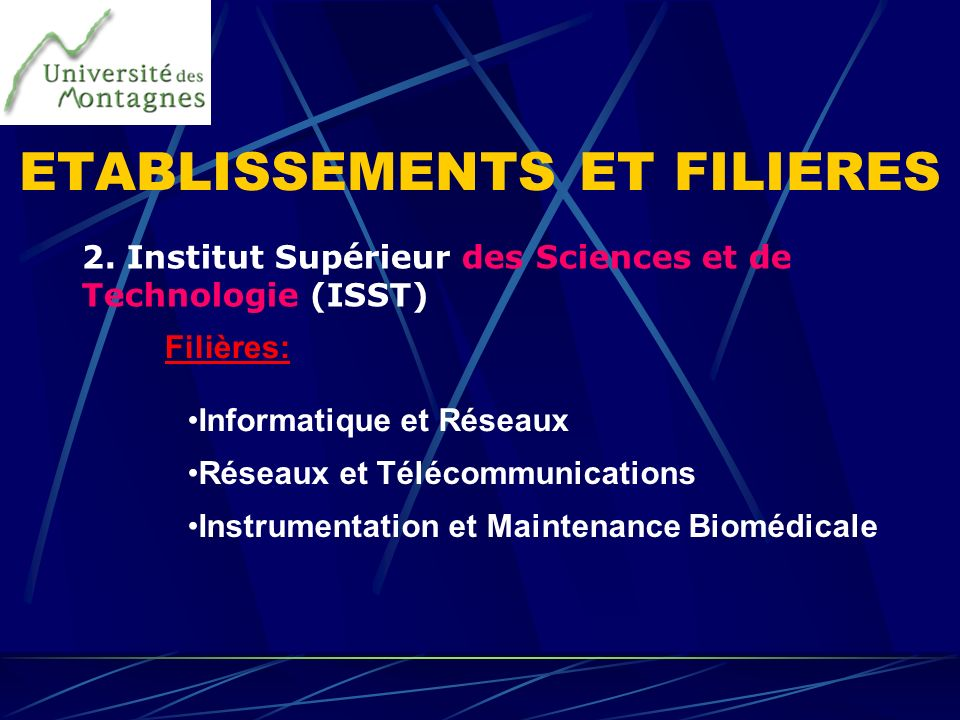 ETABLISSEMENTS ET FILIERES