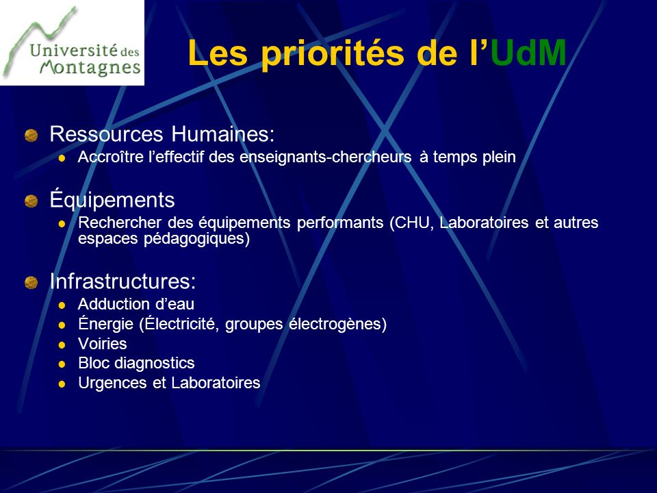 Les priorités de l'UdM Ressources Humaines: Équipements