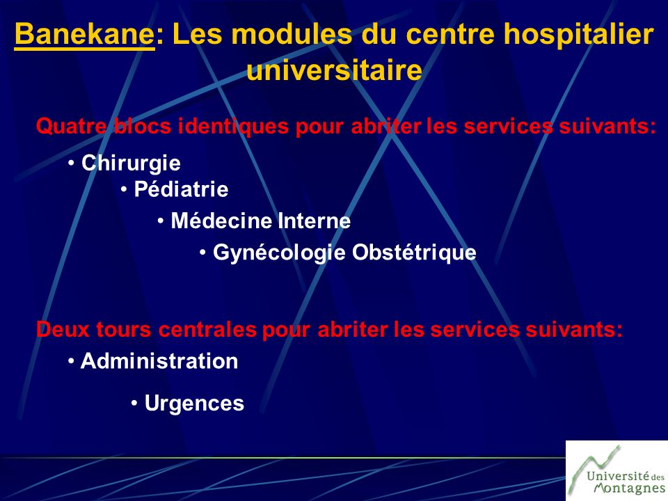 Banekane: Les modules du centre hospitalier universitaire
