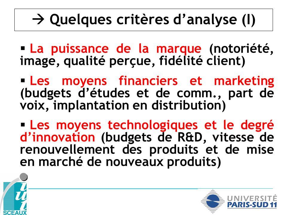  Quelques critères d'analyse (I)
