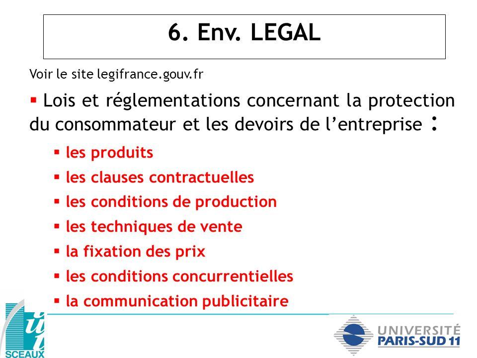6. Env. LEGAL Voir le site legifrance.gouv.fr. Lois et réglementations concernant la protection du consommateur et les devoirs de l'entreprise :