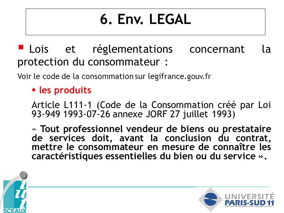 Lois et réglementations concernant la protection du consommateur :