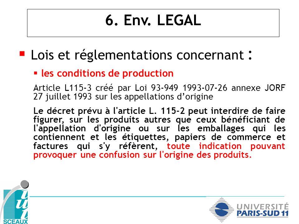 Lois et réglementations concernant :