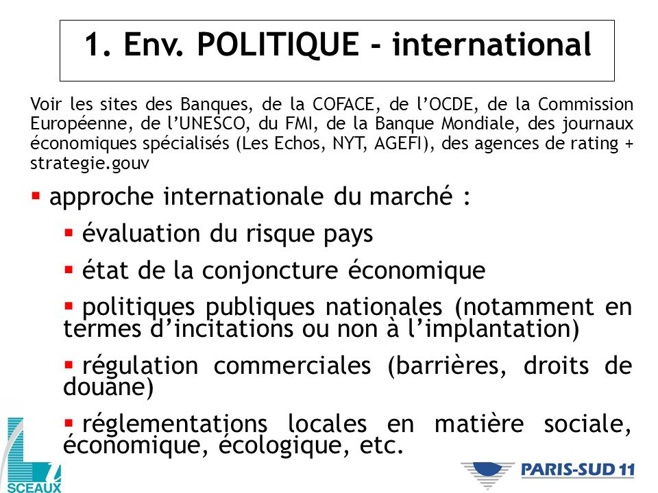 1. Env. POLITIQUE - international