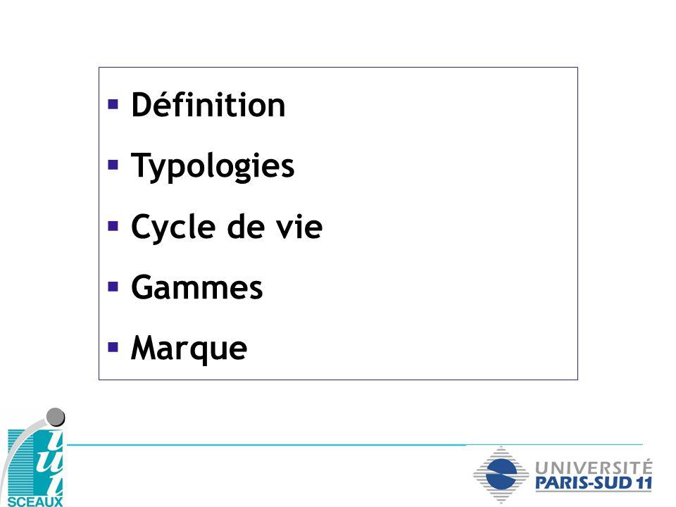 Définition Typologies Cycle de vie Gammes Marque