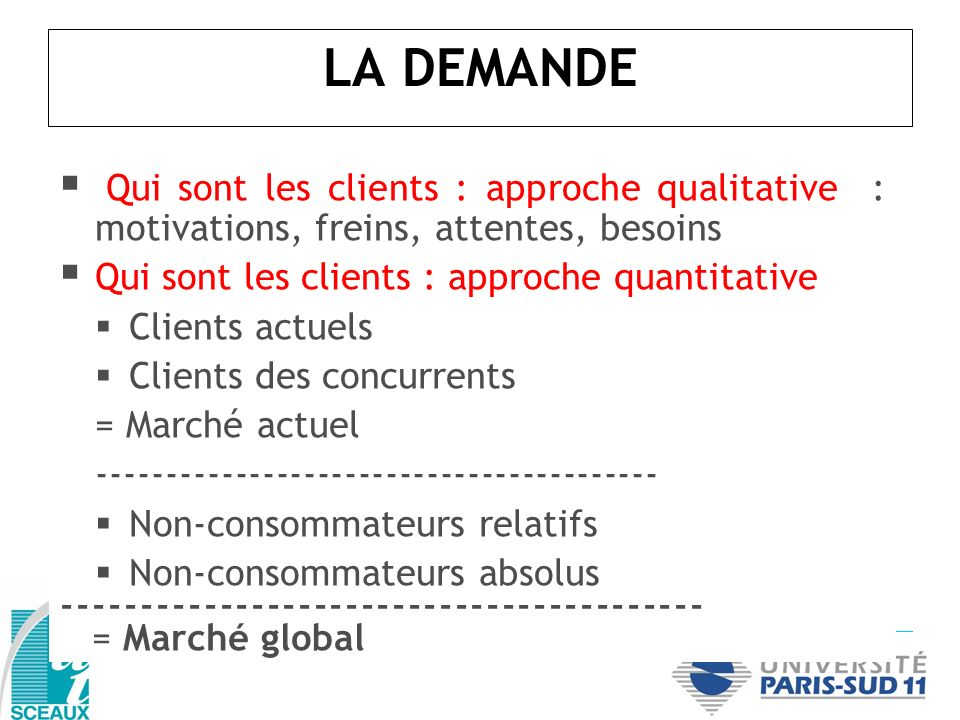LA DEMANDEQui sont les clients : approche qualitative : motivations, freins, attentes, besoins. Qui sont les clients : approche quantitative.