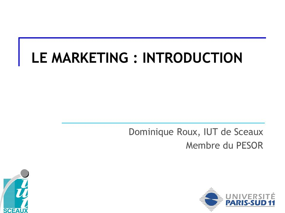 LE MARKETING : INTRODUCTION