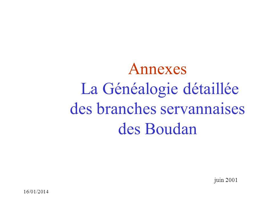 Annexes La Généalogie détaillée des branches servannaises des Boudan