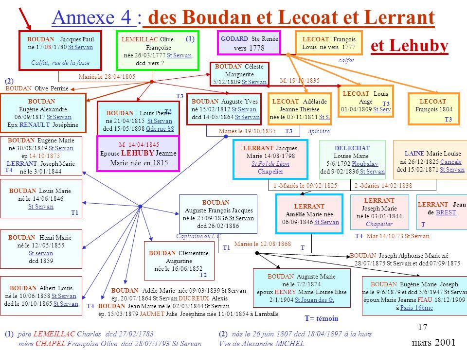 Annexe 4 : des Boudan et Lecoat et Lerrant