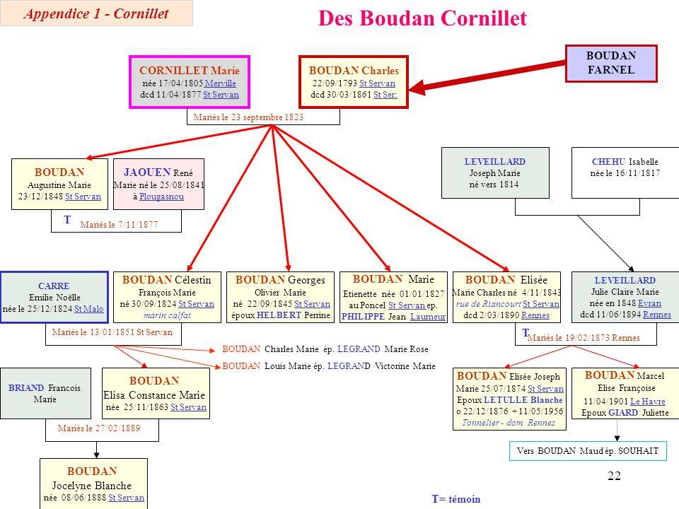 Des Boudan Cornillet Appendice 1 - Cornillet BOUDAN FARNEL