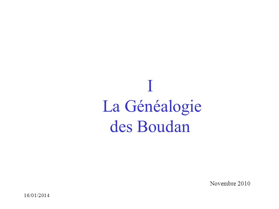 I La Généalogie des Boudan