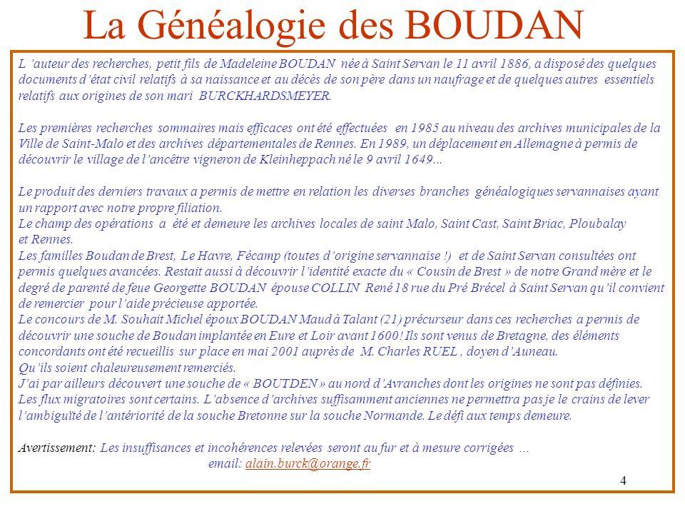 La Généalogie des BOUDAN
