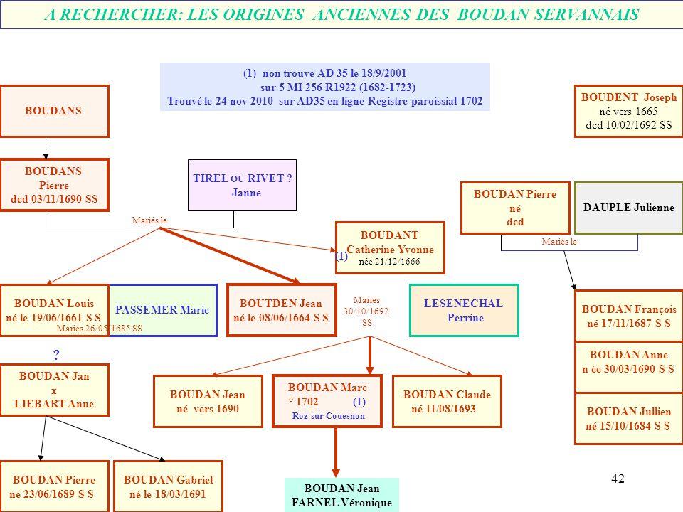 A RECHERCHER: LES ORIGINES ANCIENNES DES BOUDAN SERVANNAIS