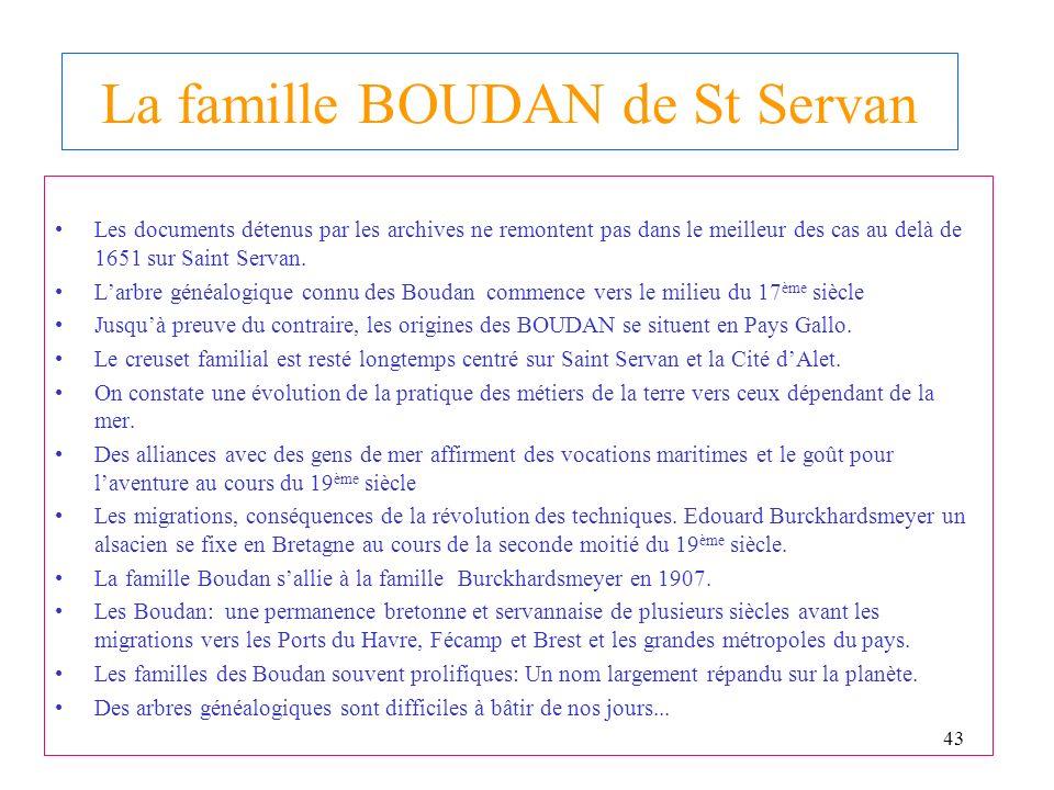 La famille BOUDAN de St Servan