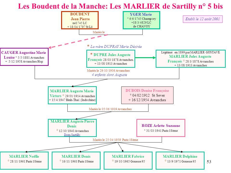Les Boudent de la Manche: Les MARLIER de Sartilly n° 5 bis