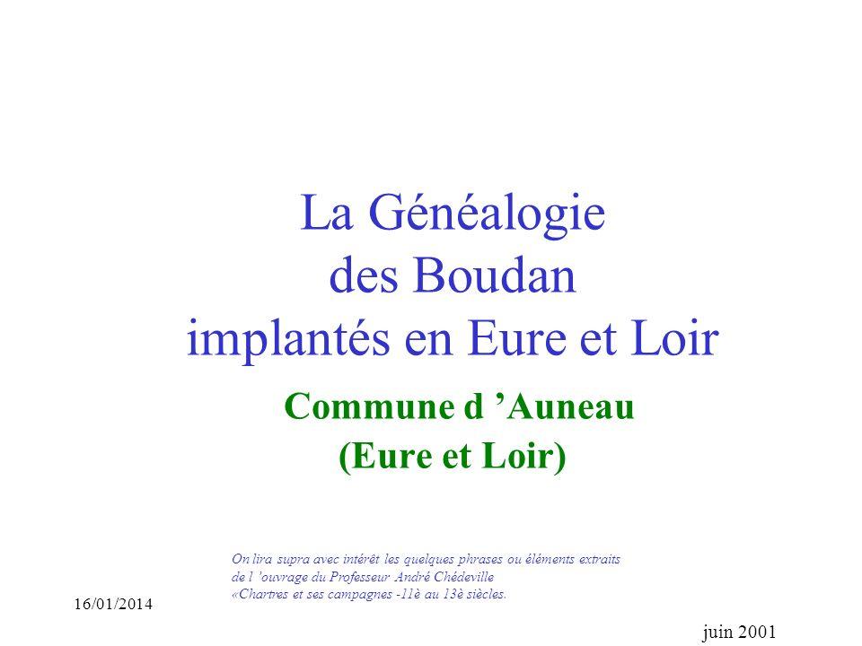 La Généalogie des Boudan implantés en Eure et Loir Commune d 'Auneau (Eure et Loir)
