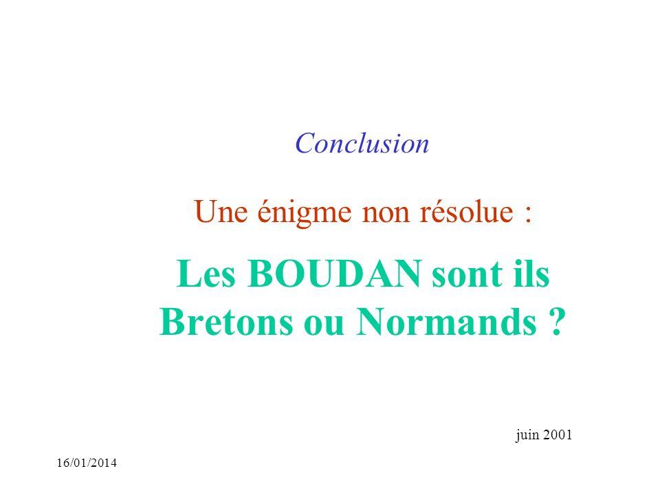 Une énigme non résolue : Les BOUDAN sont ils Bretons ou Normands