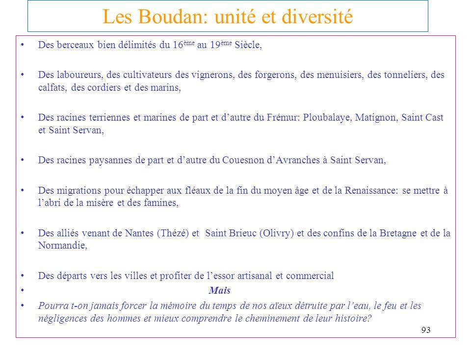 Les Boudan: unité et diversité