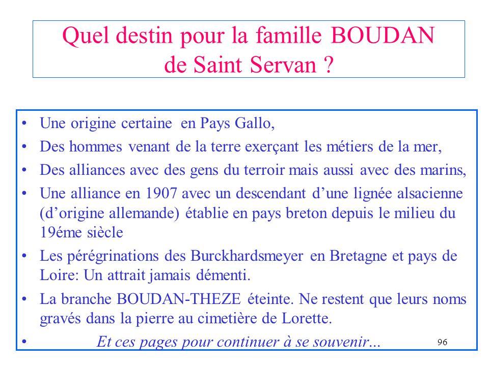 Quel destin pour la famille BOUDAN de Saint Servan