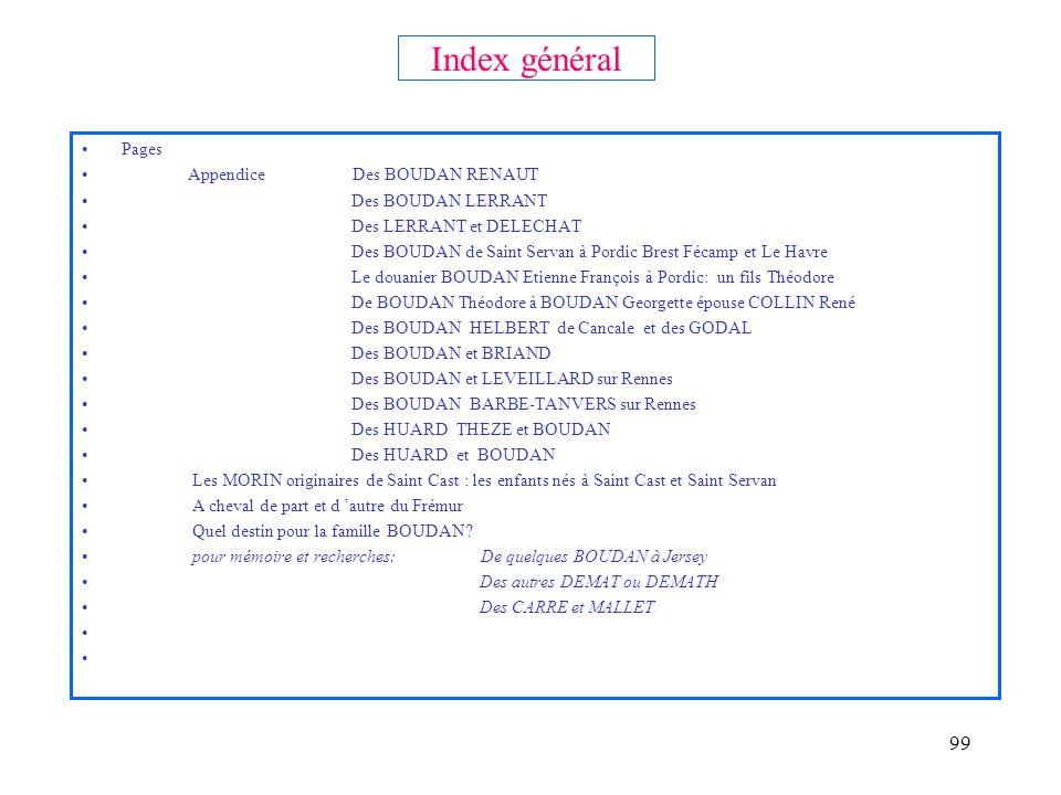 Index général Pages Appendice Des BOUDAN RENAUT Des BOUDAN LERRANT