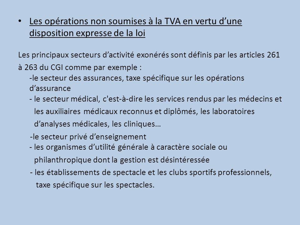 Les opérations non soumises à la TVA en vertu d'une disposition expresse de la loi
