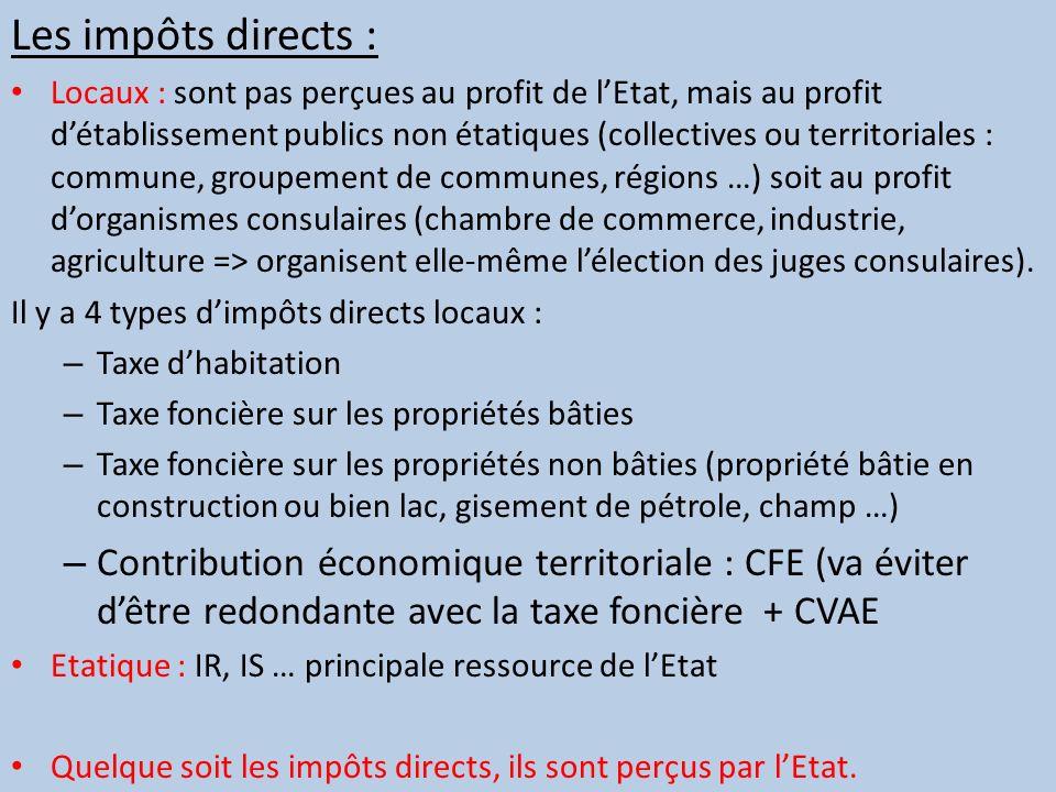 Les impôts directs :