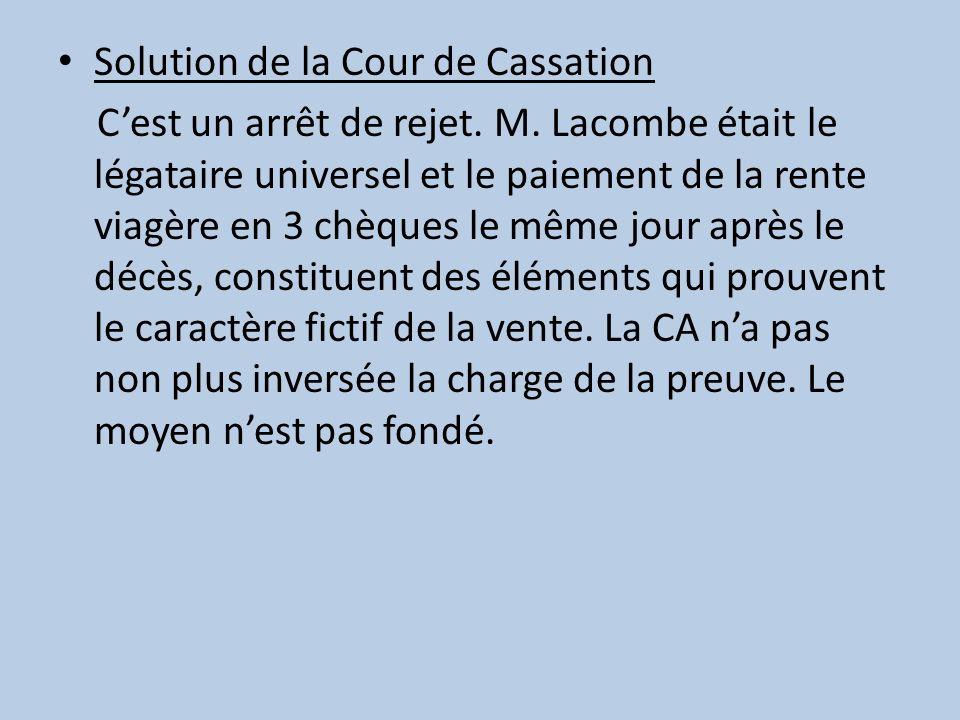 Solution de la Cour de Cassation