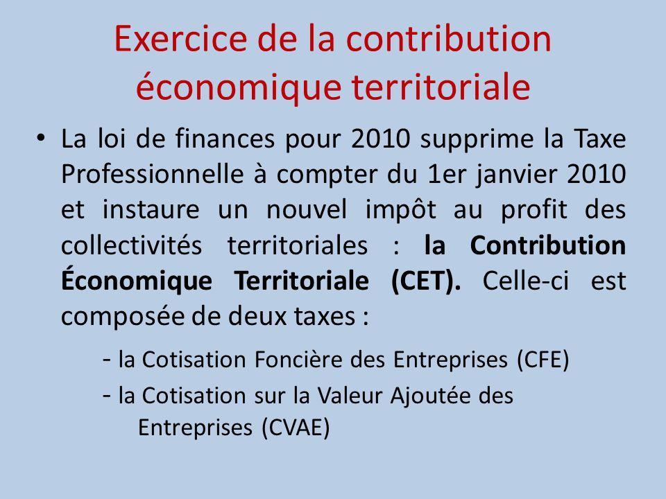 Exercice de la contribution économique territoriale