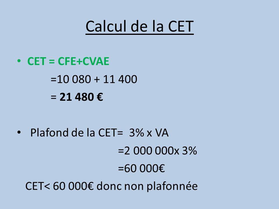 Calcul de la CET CET = CFE+CVAE =10 080 + 11 400 = 21 480 €